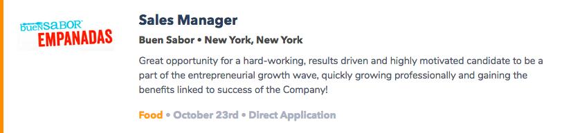 Mid-Level Food Jobs NYC