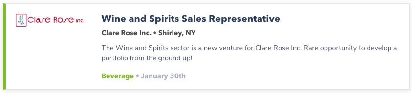 Wine Sales Representative
