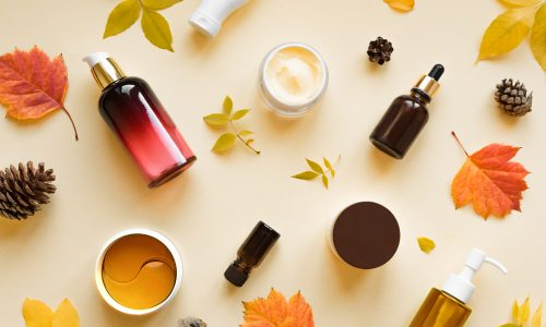 Autumn,Skin,Care,Products,And,Autumn,Leaves,On,Yellow,Background,