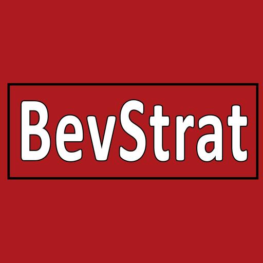 Square bevstrat small logo on white on red for li